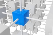 Blue Cube In Network Grid Of White Cubes Over White Background - Software Module, Teamwork Or Standing Out From The Crowd Leadership Concept
