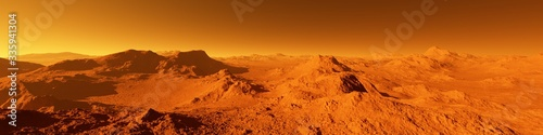 Obraz Wide panorama of mars - the red planet - landscape with mountains and impact crater during sunrise or sunset - fototapety do salonu