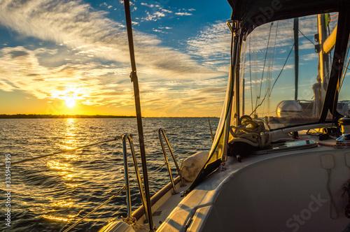 Sunrise aboard a sailboat. Canvas Print