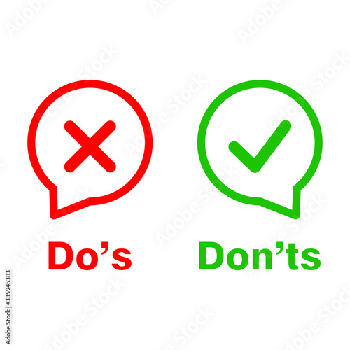 Photo color speech bubble like do's and don'ts