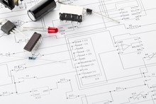 Different Electronic Parts Or Components On Pcb Wiring Diagram With Resistors, Capacitors, Diode And Ic Chips