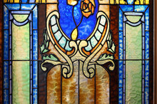 Close-up Of Stained Glass In The Church Window