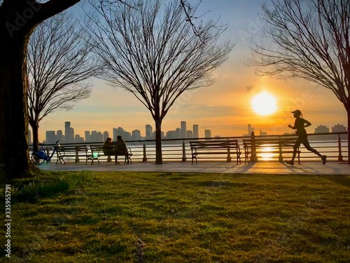 sunset at the hudson river during COVID-19 Wallpaper Mural
