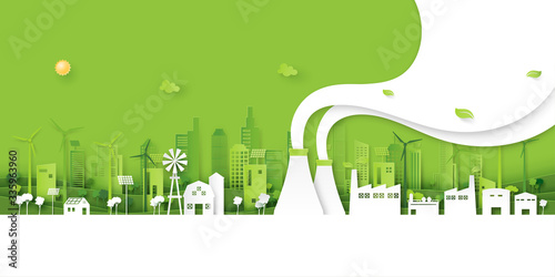 Fotografia Green industry and clean energy on eco friendly cityscape background