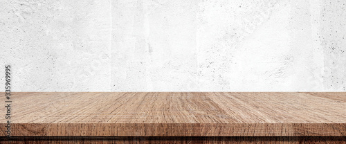 Fotografía Wood table and white wall background in kitchen, Wooden shelf, counter for food