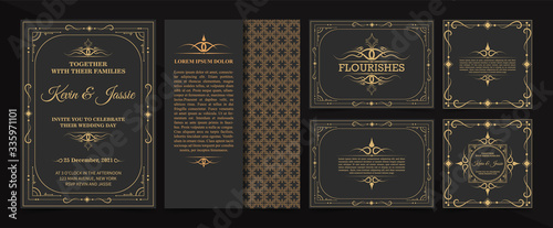 Leinwand Poster collection Invitation card vector design vintage style