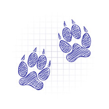 Animal Tracks Icon. Hand Drawn Sketched Picture With Scribble Fill. Blue Ink. Doodle On White Background
