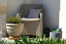 Outdoor Furniture. A Beige Wov...