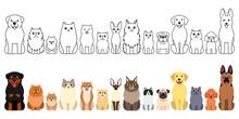 Cute Cartoon Cats And Dogs Border Set, Full Body
