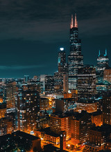 Downtown Chicago Cityscape Sky...