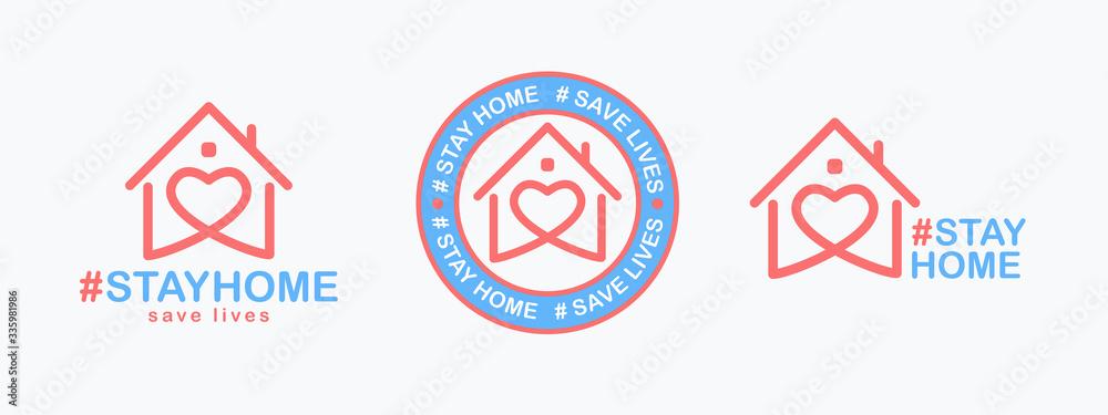 Fototapeta Stay Home, save lives set. Isolated hashtag phrase with heart shaped house icon on white background. Logo or emblem design for poster, web banner or social media. Quarantine coronavirus. Vector