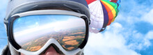 Goggles Of A Skydiver Reflecti...