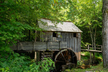 Water Wheel And Old Mill In The Woods.  Cades Cove, Smoky Mountains National Park, Tennessee