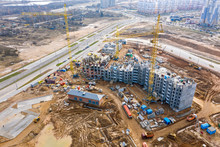 Development Of New City Residential Area. Aerial View Of Construction Site Of New Modern Apartment Buildings
