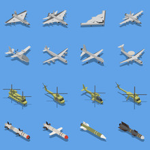Military Air Forces Isometric Set
