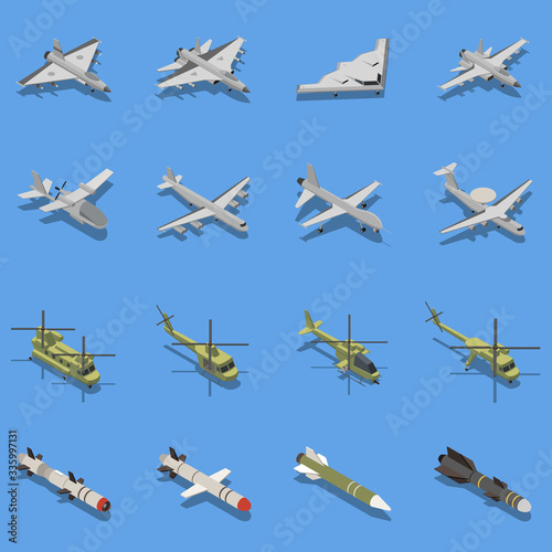 Military Air Forces Isometric Set Fotobehang