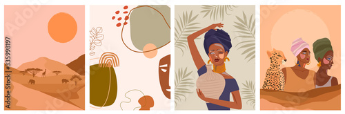 Set of abstract posters with African woman in turban,  ceramic vase and jugs, plants, abstract shapes and landscape Fototapeta