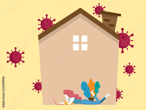 Photo work from home concept, woman working with laptop in her home for avoid covie-19