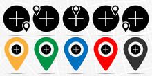 Plus Icon In Location Set. Sim...