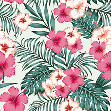 Hibiscus Leaves Seamless Tropical Pattern Background