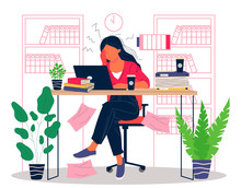 Hard Office Work With Overload Vector Illustration. Young Frustrated Woman Sitting At Office With Depression. Professional And Emotional Burnout Concept.