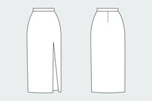 Female  Cut Out Straight Skirt Vector Template Isolated On A Grey Background. Front And Back View. Outline Fashion Technical Sketch Of Clothes Model.
