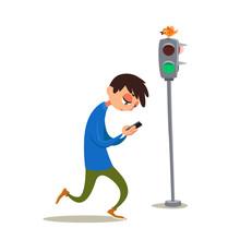 Young Man At Traffic Light Loo...