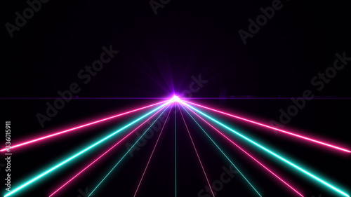 Obraz Retro cyberpunk style 80s. Abstract neon color light party bright lens flare on black background. Laser show colorful design for banners advertising technologies - fototapety do salonu