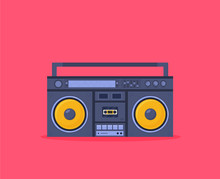 Old Style Music Boombox Flat Vector Music Systems