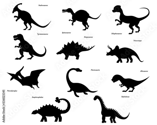 Photo Set of dinosaur silhouettes isolated on white background.