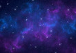 canvas print picture - Nebula and stars in night sky. Space background.