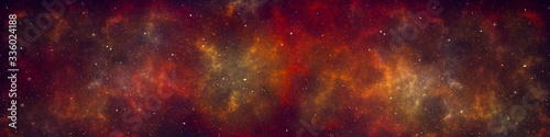 Fotografiet Nebula and stars in night sky web banner. Space background.