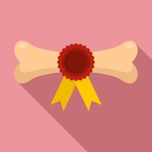 Dog Award Bone Icon. Flat Illu...