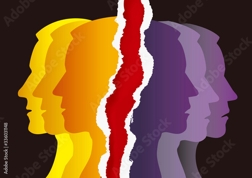 Schizophrenia, manic depression, male head silhouettes on torn paper Fototapeta