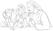 Jesus Christ Talking To Children. Vector Cartoon Coloring Page