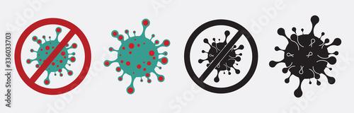 Fototapeta Coronavirus formula vector icons. Stop the coronavirus. Coronavirus 2019 nCov, Covid 19 NCP virus stop signs, health protection labels obraz