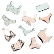 Lingerie and swimsuits vector stickers set. Various types of woman beach fashion clothes, swimsuit, bikini, monokini. Underwear tops and bottoms. Vector flat illustration isolated. Summer vibes banner