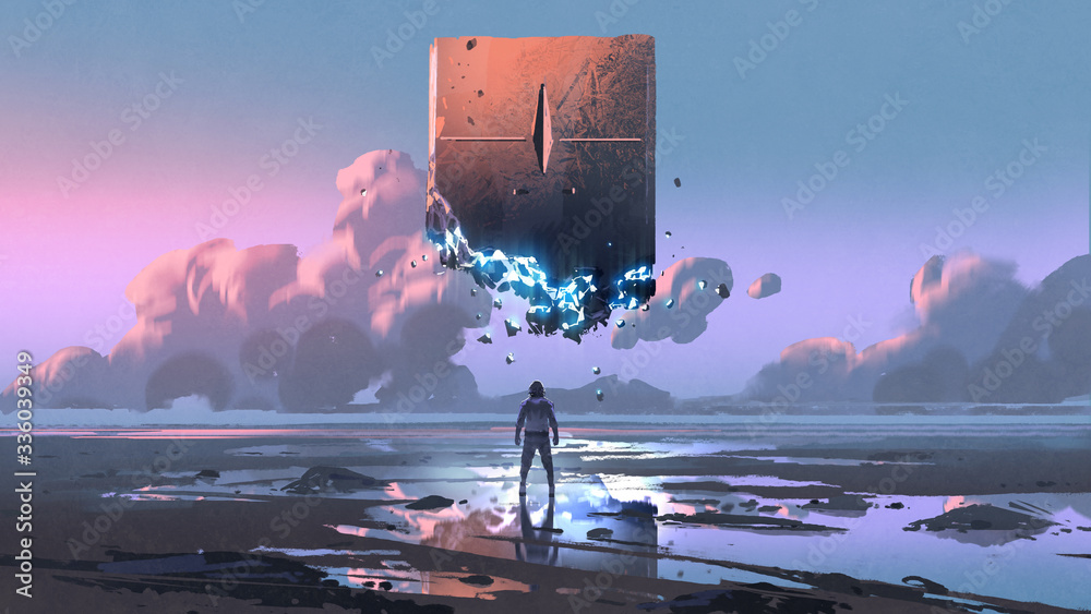 Fototapeta a man looking at the monolith that floating in the sky, digital art style, illustration painting