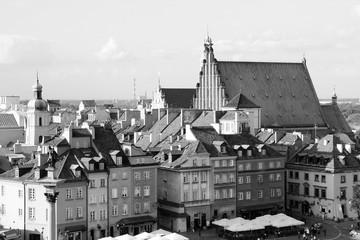 Panel Szklany Czarno-Biały Warsaw Old Town, Poland. Black and white retro style.