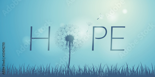 hope typography with dandelion on blue sky background vector illustration EPS10 Canvas-taulu
