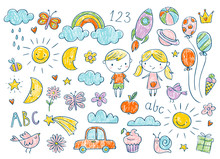 Vector Hand-drawn Kids Doodle Set. Drawings For Children In Color On White Background. School, Preschool, Kindergarten Baby Shower Related Design Elements Set.