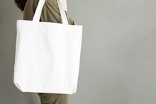 Blank White Tote Bag Canvas Fa...