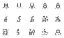 Elder People Vector Line Icons...