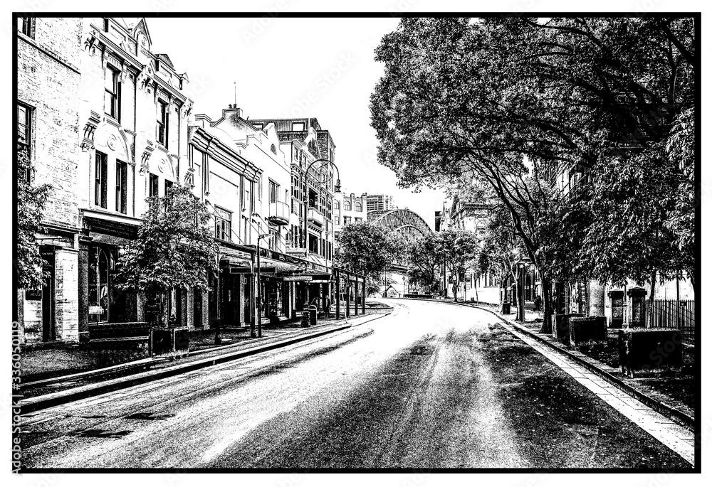 Fototapeta Black & White Streets-cape