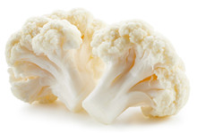 Organic Cauliflower With Clipping Path Isolated On A White Background. Fresh Cauliflower