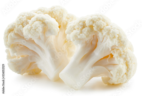 Leinwand Poster Organic cauliflower with clipping path isolated on a white background
