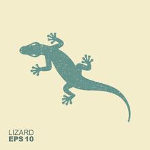 Lizard. Flat Monochrome Icon W...