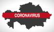 Kazakhstan map with Coronavirus warning illustration