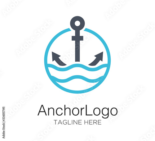 Fotomural anchor logo vector design concept