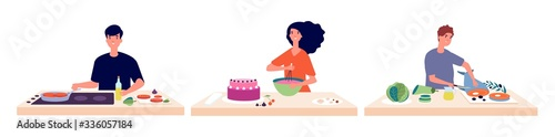 People cooking. Man woman baking and make food. People and fresh healthy ingredients vector illustration. Woman or man cooking at home
